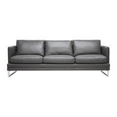 Dakota Pewter Gray Leather Modern Chair, Sofa