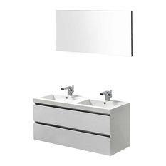 Valencia 47-inch Wall-Mount Double Bathroom Vanity Set Glossy White
