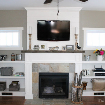 Shiplap Fireplace with Reclaimed Mantle