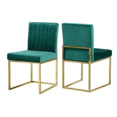 Giselle Velvet Dining Chairs, Set of 2, Green, Gold Base