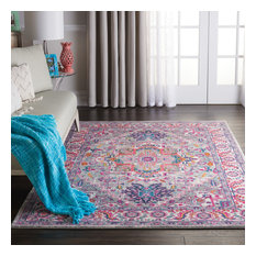 """Nourison Passion Traditional Area Rug, Light Gray/Pink, 5'3""""x7'3"""""""