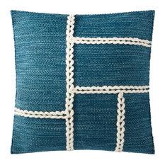 "18""x18"" Abstract Chainstitch Mid-century Modern Wool Braid Throw Pillow, Blue/Na"