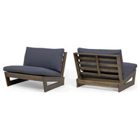 Emma Outdoor Acacia Wood Club Chairs With Cushions, Set of 2, Gray