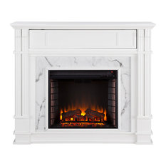 Aragon Faux Cararra Marble Media Fireplace, Electric