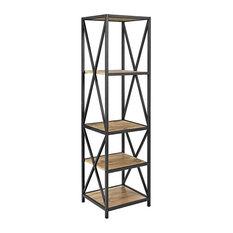 61-inch Tall X-Frame Metal And Wood Media Bookshelf Barnwood