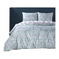 Pale Elm Cotton Percale Printed Reversible Duvet Cover Set, Queen