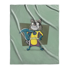 """Raccoon, Superhero Animal Art"" Sherpa Blanket 50""x60"""