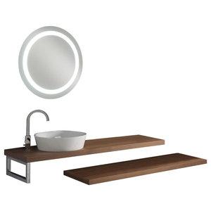 Clever 5-Piece Bathroom Vanity Set, Walnut and White, 160 cm