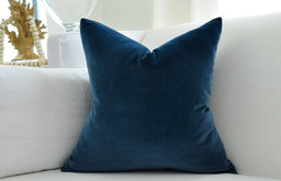 Cotton Velvet Pillow Cover, Navy Blue by Woody Liana