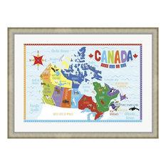 "Canada Map, Silver Scoop Frame, Art Print, 38""x28"""