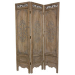 Oriental Furniture - 6' Tall Antiqued Scrollwork Room Divider - This outstanding European decorative screen is suitable for formal interiors as well as modern casual decor. Hand-crafted from kiln-dried wood, with sturdy, durable joinery and framing. Each panel is hand detailed to create a sense of time-worn beauty and heirloom character.