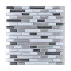 "12""x12"" Peel and Stick Kitchen Backsplash Wall Tiles, Set of 10"