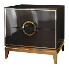 Bedroom Nightstand with 2 Drawers Square Beside Table Wood & Stainless Steel, Bl