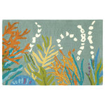 Company C - Under The Sea Door Mat, 2'x3', Lake - Journey to the deep. We looked to glorious coral reefs to bring you this colorful rug that reveals the beauty hidden beneath the ocean waters. A quiet adventure of beautiful cool shades of greens, oranges and blues. Hand-hooked in 100% polypropylene-perfect for indoor or outdoor use. A great option for high-traffic areas.