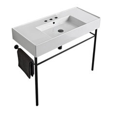 Ceramic Console Sink and Matte Black Stand, Three Hole