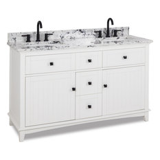 60-inchDouble White Vanity White Black Engineered Marble Top 2 Bowls