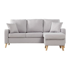 Divano Roma Furniture - Modern Fabric Small Space Sectional Sofa with Reversible Chase, Light Grey - Sectional Sofas