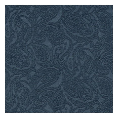 Blue Traditional Paisley Woven Matelasse Upholstery Grade Fabric By The Yard