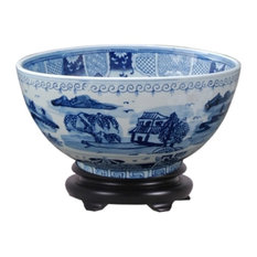 """Chinese Blue and White Blue Willow Porcelain Bowl With Base 12"""""""
