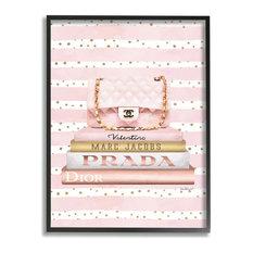 Pink Designer Bag on Fashion Bookstack over Pattern16x20