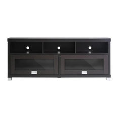 Baxton Studio - Baxton Studio Swindon Modern TV Stand with Glass Doors - Entertainment Centers and Tv Stands