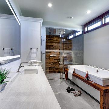 Log home Modern Master Bathroom remodel