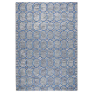 Wool Design Circles Rug, Grey, 140x200 cm