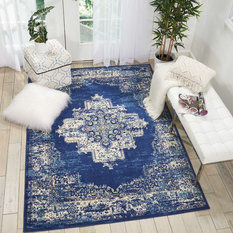 Nourison Grafix Area Rug Navy Blue 5 3 X7