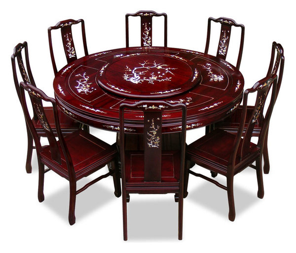 """Round Kitchen Table For 8: 60"""" Rosewood Pearl Inlay Design Round Dining Table With 8"""