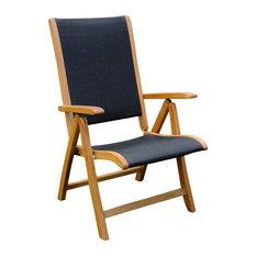 International Caravan   Set Of Two Royal Tahiti Outdoor Wood 5 Position  Folding Chair,