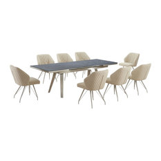 Regina Dark Grey Extendable Table With 8 Bronx Chairs, Natural