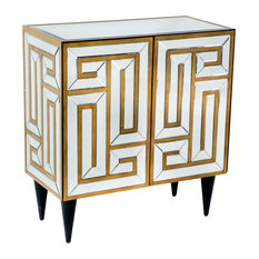 Labyrinth White and Gold Mirrored Sideboard