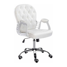 Consigned Swivel Chair Upholstered, Faux Leather With Buttoned Back, Cream White