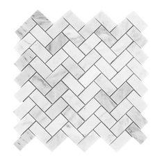 "Carrara White Marble Honed Herringbone Mosaic Tile, 12""x12"" Sheets, Set of 5"