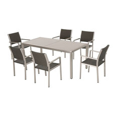 GDFStudio - Coral Bay Outdoor 7-Piece Gray Aluminum Dining Set, Glass Table Top - Outdoor Dining Sets