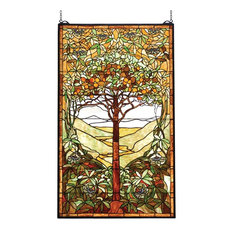 "29""Wx48""H Tiffany Tree of Life Stained Glass Window"