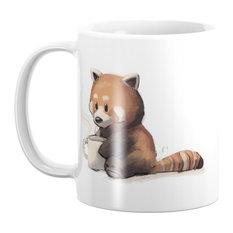 Society6 Red Panda Drinking Coffee Mug