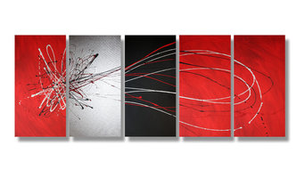Abstract art canvas painting red blacksilver
