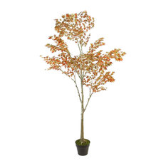 5.5' Potted Fall Harvest Artificial Orange Dream Japanese Maple Tree