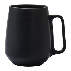 Enso Porcelain Mugs, Black, Set of 4