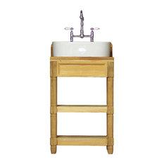 Small 24-inch Reclaimed Wood Bath Vanity Open Shelf Vessel Bath Sink Package