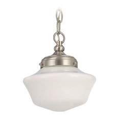 Chain mini pendant lighting houzz destination lighting 8 schoolhouse mini pendant light with chain satin nickel aloadofball Image collections