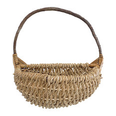 Country Handwoven Rope Basket, Natural Brown, 15""