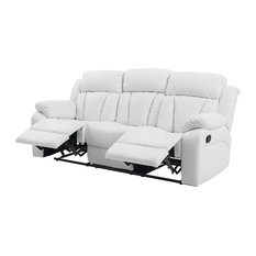 Glory Furniture   Springfield Reclining Sofa, White Faux Leather   Sofas