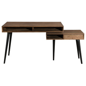 Sistine Desk With Pivoting Shelf, Brown