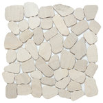 """Emser Tile - Cultura Ivory 12""""x12"""" Pebbles Mosaic Tile, Set of 10 - Cultura is comprised of first-rate natural stone, fabricated into an intriguing pebble configuration. An array of solid colors and blends are available in a subtle honed finish on a 12x12 interlocking mesh. Cultura may be installed on shower walls or floors."""