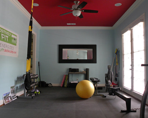 Transitional dallas home gym design ideas pictures for Home gym room