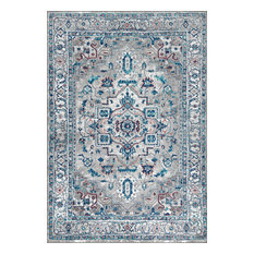 "Modern Persian Vintage Medallion Light Gray and Blue Rug, 7'9""x10'"