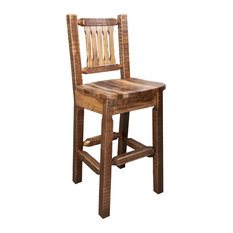 Montana Woodworks - Barstool With Back Stain and Clear Lacquer Finish Ergonomic Wooden Seat  sc 1 st  Houzz & Ergonomic Bar Stools u0026 Counter Stools | Houzz islam-shia.org