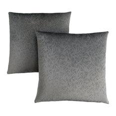 """18""""x18"""" Pillow, Dark Grey Floral Velvet, Set of 2"""